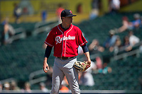 Tacoma Rainiers relief pitcher Mike Morin (28) looks to his catcher for the sign during a Pacific Coast League game against the Sacramento RiverCats at Raley Field on May 15, 2018 in Sacramento, California. Tacoma defeated Sacramento 8-5. (Zachary Lucy/Four Seam Images)