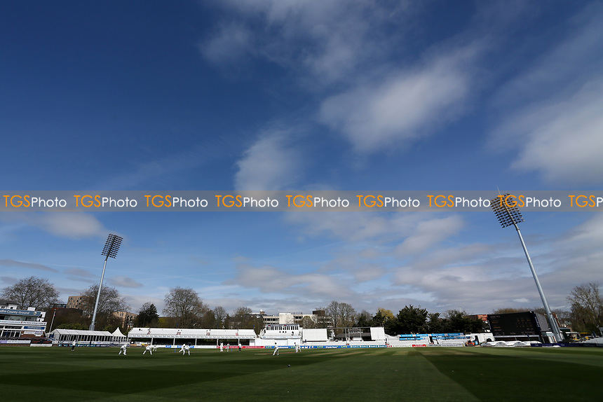 Blue skies over the ground as the lunch interval approaches during Essex CCC vs Worcestershire CCC, LV Insurance County Championship Group 1 Cricket at The Cloudfm County Ground on 8th April 2021
