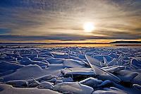 Broken slabs of ice on the surface of Lake Baikal.