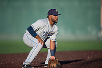Tri-City Dust Devils third baseman Jose Lezama (18) during a Northwest League game against the Everett AquaSox at Everett Memorial Stadium on September 3, 2018 in Everett, Washington. The Everett AquaSox defeated the Tri-City Dust Devils by a score of 8-3. (Zachary Lucy/Four Seam Images)