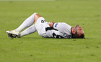 Calcio, Europa League: Roma vs Astra Giurgiu. Roma, stadio Olimpico, 29 settembre 2016.<br /> Astra Giurgiu's Filipe Teixeira lies on the pitch after being injured during the Europa League Group E soccer match between Roma and Astra Giurgiu at Rome's Olympic stadium, 29 September 2016. Roma won 4-0.<br /> UPDATE IMAGES PRESS/Riccardo De Luca