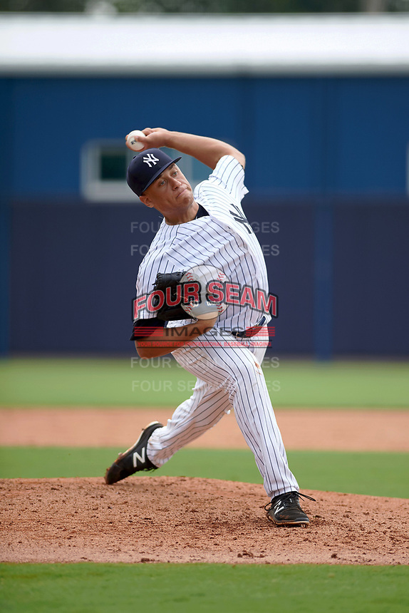 GCL Yankees East starting pitcher Tony Hernandez (26) during the first game of a doubleheader against the GCL Yankees West on July 19, 2017 at the Yankees Minor League Complex in Tampa, Florida.  GCL Yankees West defeated the GCL Yankees East 11-2.  (Mike Janes/Four Seam Images)