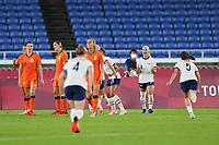YOKOHAMA, JAPAN - JULY 30: Julie Ertz #8 of the United States celebrates during a game between Netherlands and USWNT at International Stadium Yokohama on July 30, 2021 in Yokohama, Japan.