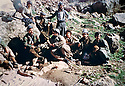 Iraq 1988 .In the center, Hama Haji Mahmoud with his peshmergas  in Qandil mountains .Irak 1988 .Hama Haji Mahmoud entouré de ses peshmergas dans  les montagnes de Qandil