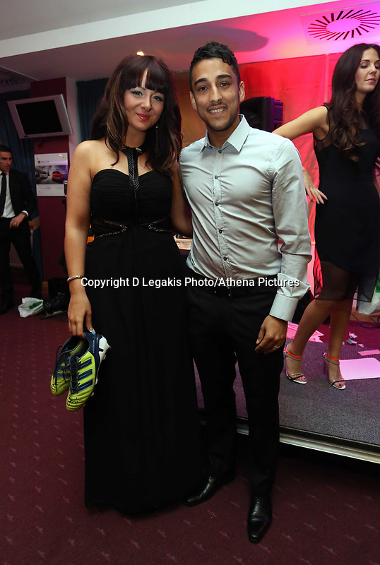 Pictured: Neil Taylor (R). Wednesday 10 April 2013<br /> Re: Swansea footballer Angel Rangel and wife Nicky's cancer charity fundraising dinner at the Liberty Stadium.<br /> Singer Shelley