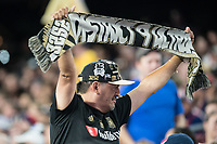 FOXBOROUGH, MA - AUGUST 4: Los Angeles FD District 9 Ultra fan during a game between Los Angeles FC and New England Revolution at Gillette Stadium on August 3, 2019 in Foxborough, Massachusetts.