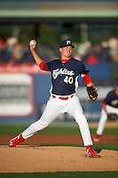 Reading Fightin Phils pitcher Nick Pivetta (40) delivers a pitch during a game against the New Britain Rock Cats on August 7, 2015 at FirstEnergy Stadium in Reading, Pennsylvania.  Reading defeated New Britain 4-3 in ten innings.  (Mike Janes/Four Seam Images)