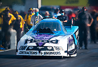 Aug 8, 2020; Clermont, Indiana, USA; NHRA funny car driver Blake Alexander during qualifying for the Indy Nationals at Lucas Oil Raceway. Mandatory Credit: Mark J. Rebilas-USA TODAY Sports