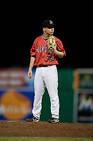 Batavia Muckdogs relief pitcher Zach Wolf (38) looks in for the sign during a game against the West Virginia Black Bears on July 3, 2018 at Dwyer Stadium in Batavia, New York.  Batavia defeated West Virginia 5-4.  (Mike Janes/Four Seam Images)