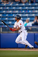 Salem Red Sox right fielder Tyler Hill (24) follows through on a swing during a game against the Lynchburg Hillcats on May 10, 2018 at Haley Toyota Field in Salem, Virginia.  Lynchburg defeated Salem 11-5.  (Mike Janes/Four Seam Images)