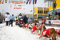 Ed Stielstra and team leave the ceremonial start line at 4th Avenue and D street in downtown Anchorage during the 2013 Iditarod race. Photo by Jim R. Kohl/IditarodPhotos.com