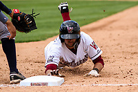 Wisconsin Timber Rattlers second baseman Nick Roscetti (3) dives back to first base during a Midwest League game against the Burlington Bees on May 19, 2018 at Fox Cities Stadium in Appleton, Wisconsin. Wisconsin defeated Burlington 1-0. (Brad Krause/Four Seam Images)