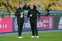 Teammanager der Nationalmannschaft Oliver Bierhoff (Deutschland Germany) und Torwarttrainer Andreas Koepke (Deutschland Germany)<br /> - 10.10.2020: Ukraine vs. Deutschland, UEFA Nations League, 3. Spieltag, Olympiastadion Kiew <br /> DISCLAIMER: DFB regulations prohibit any use of photographs as image sequences and/or quasi-video.