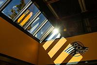 UAA Seawolves logo under morning sun in the Wells Fargo Sports Complex.