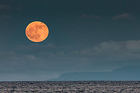 The full moon rises through the vog over Moloka'i, seen from Makapu'u, Hawai'i Kai, East O'ahu.