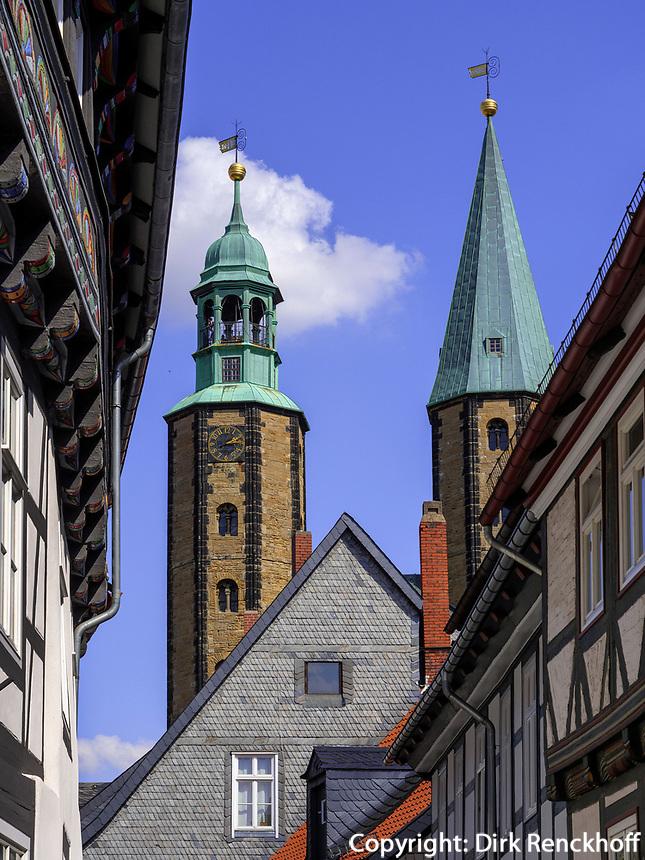 Bergstr. und Marktkirche, Goslar, Niedersachsen, Deutschland, Europa, UNESCO-Weltkulturerbe<br /> Berg St. and Market Church, Goslar, Lower Saxony,, Germany, Europe, UNESCO Heritage Site