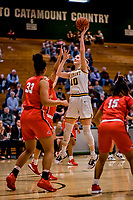 19 February 2020: University of Vermont Catamount Forward Hanna Crymble, a Senior from Champlin, MN, in second-half action against the Stony Brook Seawolves at Patrick Gymnasium in Burlington, Vermont. The Lady Seawolves edged out the Lady Catamounts 72-68 in America East Women's Basketball. Mandatory Credit: Ed Wolfstein Photo *** RAW (NEF) Image File Available ***