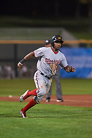 Mesa Solar Sox center fielder Victor Robles (14), of the Washington Nationals organization, hustles towards home plate during an Arizona Fall League game against the Scottsdale Scorpions on October 23, 2017 at Scottsdale Stadium in Scottsdale, Arizona. The Solar Sox defeated the Scorpions 5-2. (Zachary Lucy/Four Seam Images)