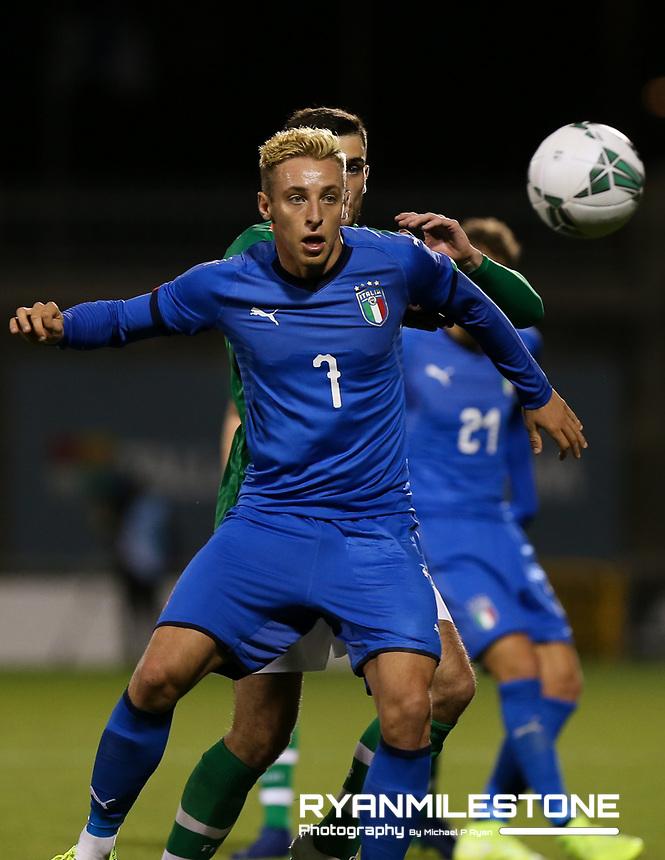 EVENT:<br /> UEFA European U21 Championship Qualifier Group 1 Republic of Ireland v Italy<br /> Thursday 10th October 2019,<br /> Tallaght Stadium, Dublin<br /> <br /> CAPTION:<br /> Davide Frattesi of Italy<br /> <br /> Photo By: Michael P Ryan
