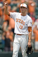 Pitcher Sam Stafford #19 of the Texas Longhorns before the game against the Oklahoma Sooners in NCAA Big XII baseball on May 1, 2011 at Disch Falk Field in Austin, Texas. (Photo by Andrew Woolley / Four Seam Images)