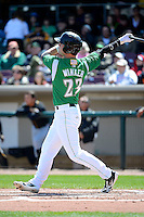 Dayton Dragons outfielder Jesse Winker #23 hits a home run during a game against the Bowling Green Hot Rods on April 21, 2013 at Fifth Third Field in Dayton, Ohio.  Bowling Green defeated Dayton 7-5.  (Mike Janes/Four Seam Images)