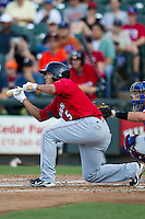 Oklahoma City RedHawks designated hitter Che-Hsuan Lin (5) squares to bunt during the Pacific Coast League baseball game against the Round Rock Express on July 9, 2013 at the Dell Diamond in Round Rock, Texas. Round Rock defeated Oklahoma City 11-8. (Andrew Woolley/Four Seam Images)