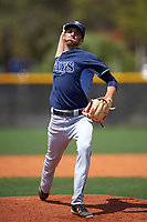 Tampa Bay Rays Greg Harris (47) during a minor league Spring Training game against the Boston Red Sox on March 23, 2016 at Charlotte Sports Park in Port Charlotte, Florida.  (Mike Janes/Four Seam Images)