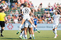 CARY, NC - SEPTEMBER 12: Kelli Hubly #20 of the Portland Thorns celebrates a goal by Sophia Smith (obscured) during a game between Portland Thorns FC and North Carolina Courage at WakeMed Soccer Park on September 12, 2021 in Cary, North Carolina.