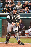 Stephen Vogt (26) of the Sacramento River Cats during the game against the Salt Lake Bees at Smith's Ballpark on April 5, 2014 in Salt Lake City, Utah.  (Stephen Smith/Four Seam Images)