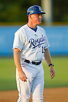 Burlington Royals manager Tommy Shields (19) coaches third base during the Appalachian League game against the Pulaski Mariners at Burlington Athletic Park on June20 2013 in Burlington, North Carolina.  The Royals defeated the Mariners 2-1 in 13 innings.  (Brian Westerholt/Four Seam Images)