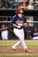 Memphis Redbirds first baseman Scott Moore (12) at bat during a game against the Oklahoma City RedHawks on May 23, 2014 at AutoZone Park in Memphis, Tennessee.  Oklahoma City defeated Memphis 12-10.  (Mike Janes/Four Seam Images)