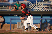 Batavia Muckdogs right fielder Harrison White (40) at bat during a game against the Mahoning Valley Scrappers on August 16, 2017 at Dwyer Stadium in Batavia, New York.  Batavia defeated Mahoning Valley 10-6.  (Mike Janes/Four Seam Images)