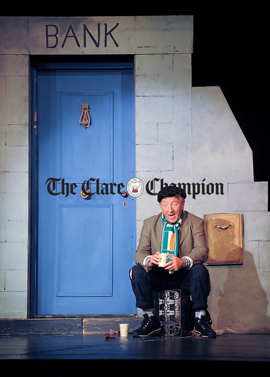 """Pat O Reilly on stage for the Corofin Drama Society's production of """"The Key"""" at the Doonbeg One Act Drama Festival. Photograph by John Kelly."""