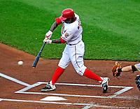 8 June 2010: Washington Nationals' outfielder Nyjer Morgan in action against the Pittsburgh Pirates at Nationals Park in Washington, DC. The Nationals defeated the Pirates 5-2 in the series opener where pitching phenom Stephen Strasburg made his Major League debut, striking out 14 batters and notching his first win in the majors. Mandatory Credit: Ed Wolfstein Photo