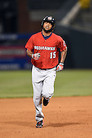 Oklahoma City RedHawks designated hitter Domingo Santana (15) runs the bases after hitting a home run during a game against the Memphis Redbirds on May 23, 2014 at AutoZone Park in Memphis, Tennessee.  Oklahoma City defeated Memphis 12-10.  (Mike Janes/Four Seam Images)