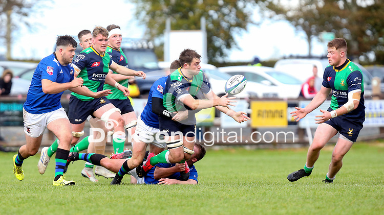 Saturday 10th October 2020 | Ballynahinch vs Queens<br /> <br /> Callum Irvine off-loads to Zac Ward during the Energia Community Series clash between Ballynahinch and Queens at Ballymacarn Park, Ballynahinch, County Down, Northern Ireland. Photo by John Dickson / Dicksondigital