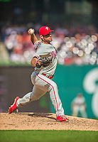 15 September 2013: Philadelphia Phillies pitcher Joe Savery on the mound against the Washington Nationals at Nationals Park in Washington, DC. The Nationals took the rubber match of their 3-game series 11-2 to keep Washington's wildcard hopes alive. Mandatory Credit: Ed Wolfstein Photo *** RAW (NEF) Image File Available ***