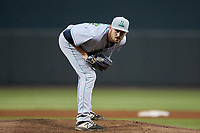 Lynchburg Hillcats starting pitcher Adam Scott (33) looks to his catcher for the sign against the Winston-Salem Dash at BB&T Ballpark on May 9, 2019 in Winston-Salem, North Carolina. The Dash defeated the Hillcats 4-1. (Brian Westerholt/Four Seam Images)