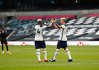 28th August 2020; Tottenham Hotspur Stadium, London, England; Pre-season football friendly; Tottenham Hotspur v Reading FC; Erik Lamela of Tottenham Hotspur celebrates with Serge Aurier of Tottenham Hotspur after scoring his sides 4th goal in the 52nd minute to make it 4-0