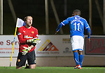 St Johnstone v Motherwell......27.10.13      SPFL<br /> Nigel Hasselabink celebrates his goal as Gunnar Neilsen shows his despair<br /> Picture by Graeme Hart.<br /> Copyright Perthshire Picture Agency<br /> Tel: 01738 623350  Mobile: 07990 594431