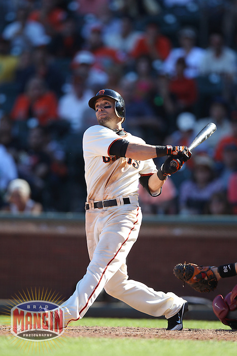SAN FRANCISCO, CA - SEPTEMBER 3:  Marco Scutaro #19 of the San Francisco Giants doubles in the bottom of the 9th inning against the Arizona Diamondbacks during the game at AT&T Park on Monday, September 3, 2012 in San Francisco, California. Photo by Brad Mangin