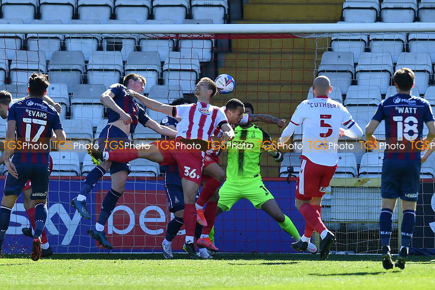 Luke Norris of Stevenage FC scores the first Goal and celebrates during Stevenage vs Bradford City, Sky Bet EFL League 2 Football at the Lamex Stadium on 5th April 2021