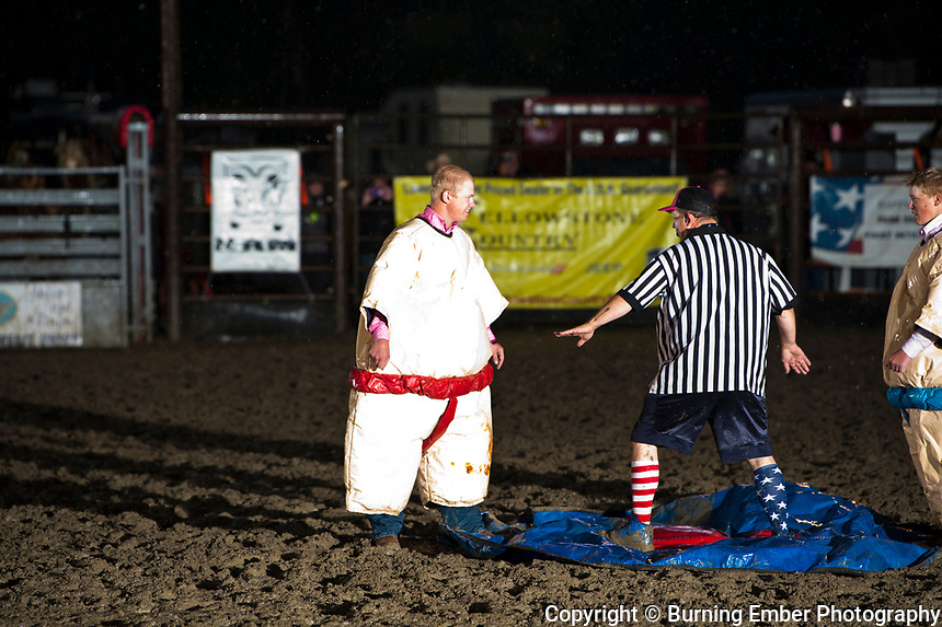 Jason Farley and the sumo wrestlers at the Livingston Roundup 2nd perf July 3rd 2019.  Photo by Josh Homer/Burning Ember Photography.  Photo credit must be given on all uses.
