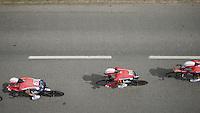 top view of Team Lotto-Soudal in action<br /> <br /> stage 9: TTT Vannes - Plumelec (28km)<br /> 2015 Tour de France