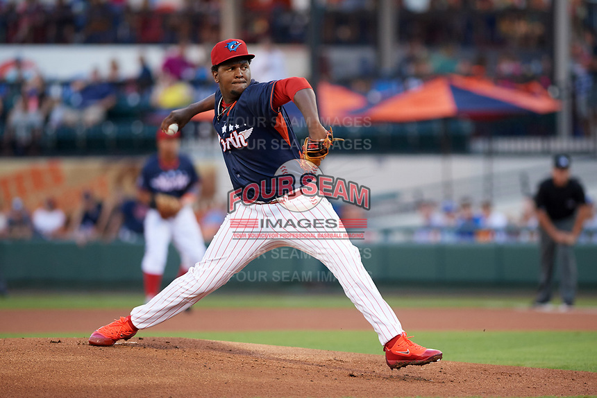 Clearwater Threshers pitcher Jose Taveras (28) delivers a pitch in the top of the first inning during the Florida State League All-Star Game on June 17, 2017 at Joker Marchant Stadium in Lakeland, Florida.  FSL North All-Stars  defeated the FSL South All-Stars  5-2.  (Mike Janes/Four Seam Images)