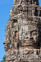Cambodia, Bayon Temple, late 12th. Century.  Smiling Buddha Face, reconstructed 2010-11.