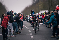 Greg Van Avermaet (BEL/BMC) trying to close the gap towards the 2 race leaders, together with Tiesj Benoot (BEL/Lotto-Soudal) and with Philippe Gilbert (BEL/Quick Step floors) dangling on (as it are his 2 teammates up front...)<br /> <br /> 61th E3 Harelbeke (1.UWT)<br /> Harelbeke - Harelbeke (206km)