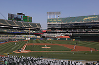 OAKLAND, CA - SEPTEMBER 29:  Jesús Luzardo #44 of the Oakland Athletics pitches in this wide angle interior view against the Chicago White Sox during Wild Card Round Game One at the Oakland Coliseum on Tuesday, September 29, 2020 in Oakland, California. (Photo by Brad Mangin)