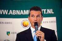 6-1-10, Rotterdam, Tennis, Persconferentie ABNAMROWTT, Toernooidirecteur Richard Krajicek kondigt het spelersveld aan.