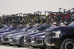 Team cars lined up at sign on before the start of Stage 3 of the 2021 UAE Tour running 166km from Al Ain to Jebel Hafeet, Abu Dhabi, UAE. 23rd February 2021.  <br /> Picture: Eoin Clarke | Cyclefile<br /> <br /> All photos usage must carry mandatory copyright credit (© Cyclefile | Eoin Clarke)